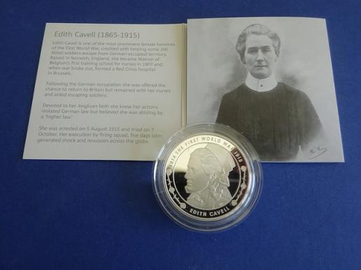 Silver Proof 2015 £5 Commemorative Coin,Edith Cavell