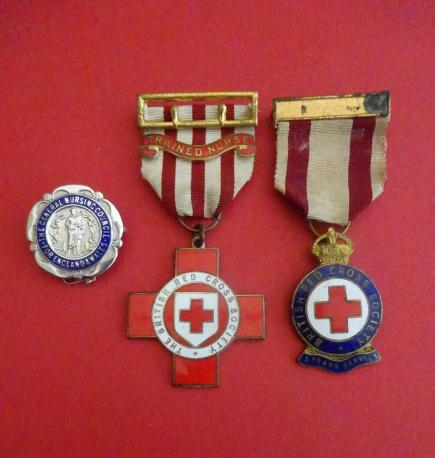 British Red Cross Technical Medal Trained Nurse/General Nursing Council Badge set.